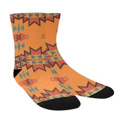 Misc shapes on an orange background Crew Socks