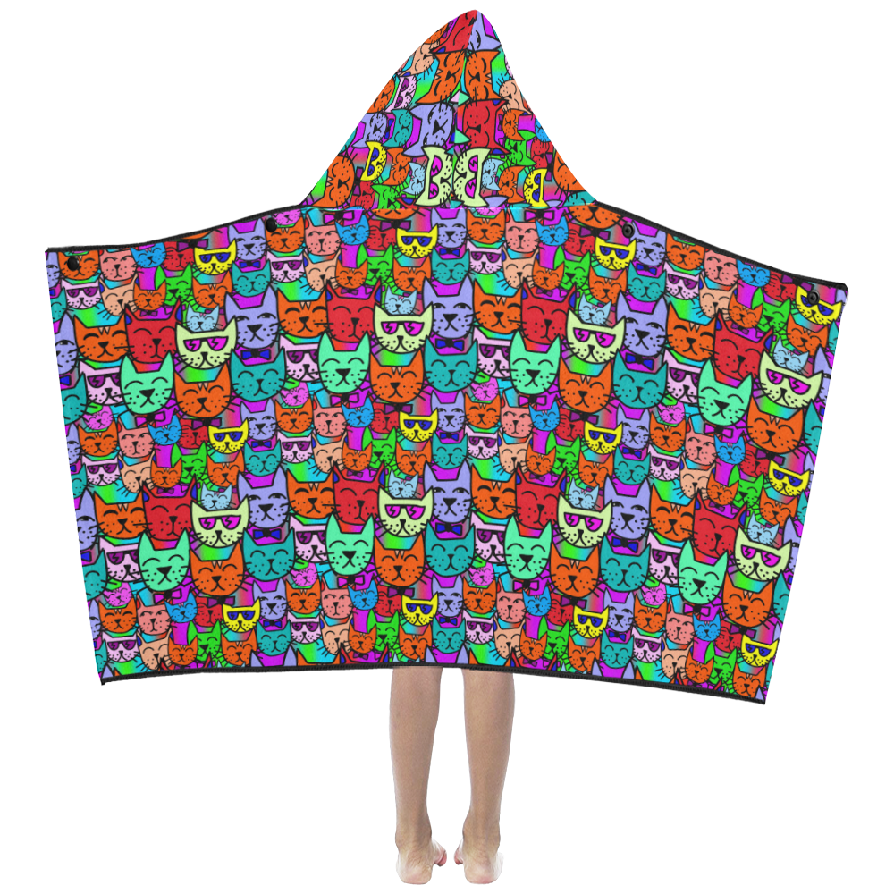 Rainbow Cats Kids' Hooded Bath Towels