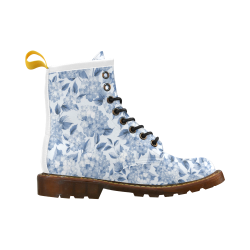 Blue and White Floral Pattern High Grade PU Leather Martin Boots For Men Model 402H