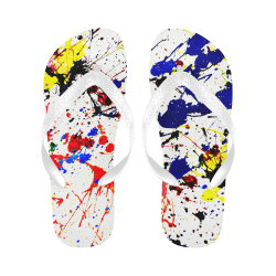 Blue & Red Paint Splatter Flip Flops for Men/Women (Model 040)