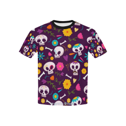 Day of the Dead - Halloween Tee Kids' All Over Print T-Shirt with Solid Color Neck (Model T40)