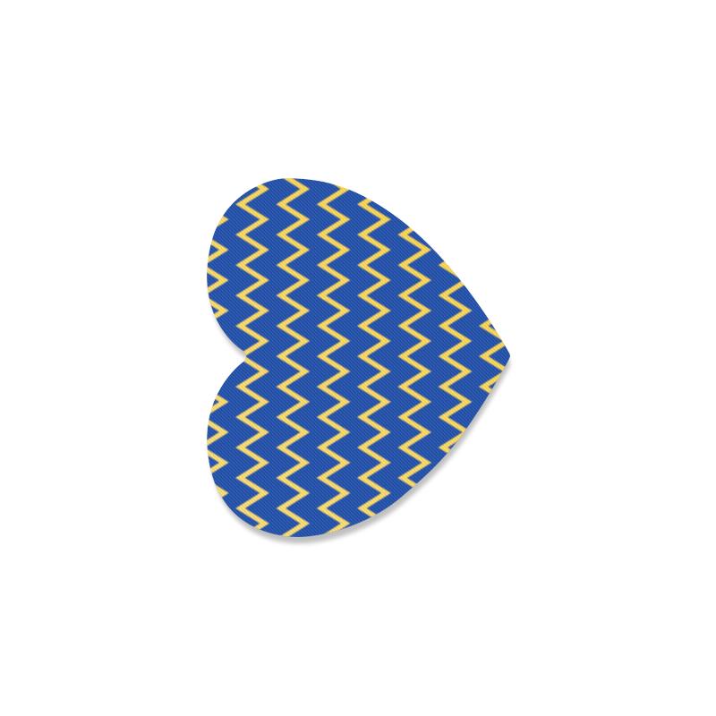 Chevron Jaune/Bleu Heart Coaster