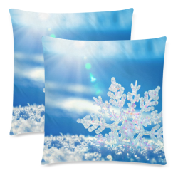 """SNOWFLAKE CHRISTMAS SKY Custom Zippered Pillow Cases 18""""x 18"""" (Twin Sides) (Set of 2)"""