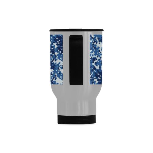 Digital Blue Camouflage Travel Mug (Silver) (14 Oz)