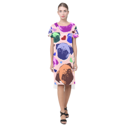 Pug Puppy Dog Love Hearts Short Sleeves Casual Dress(Model D14)
