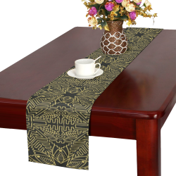 Exotic Gold Black Dream Table Runner 16x72 inch