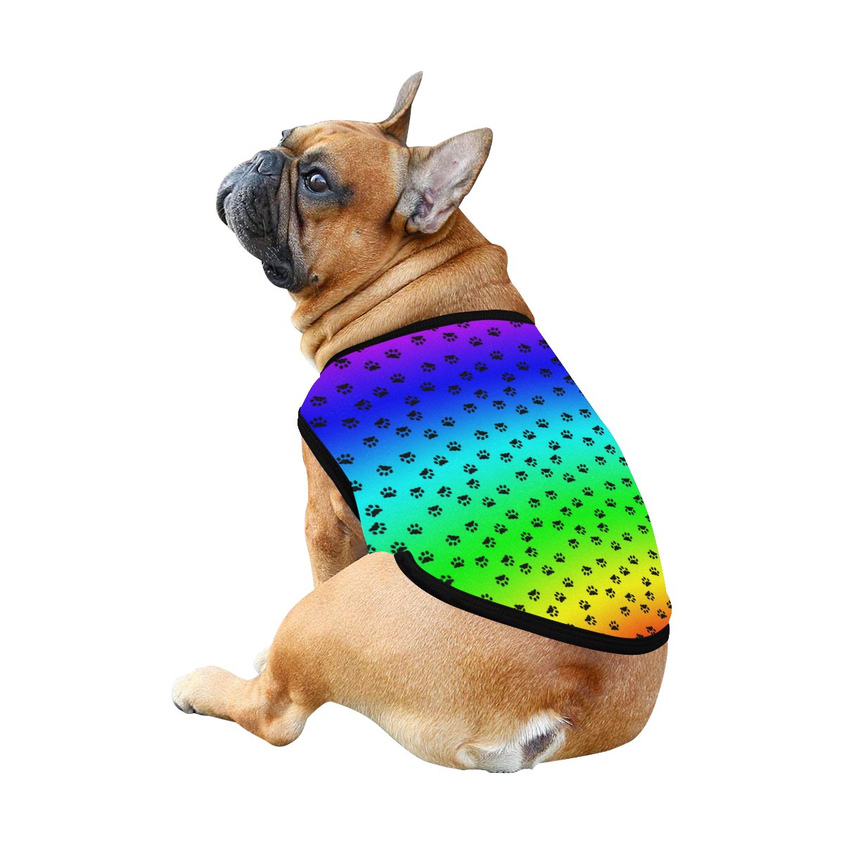 rainbow with black paws All Over Print Pet Tank Top
