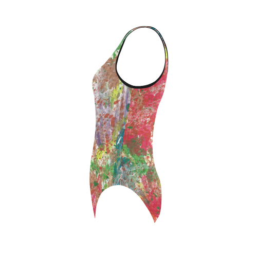 Painted Abstract Swimsuit Vest One Piece Swimsuit (Model S04)