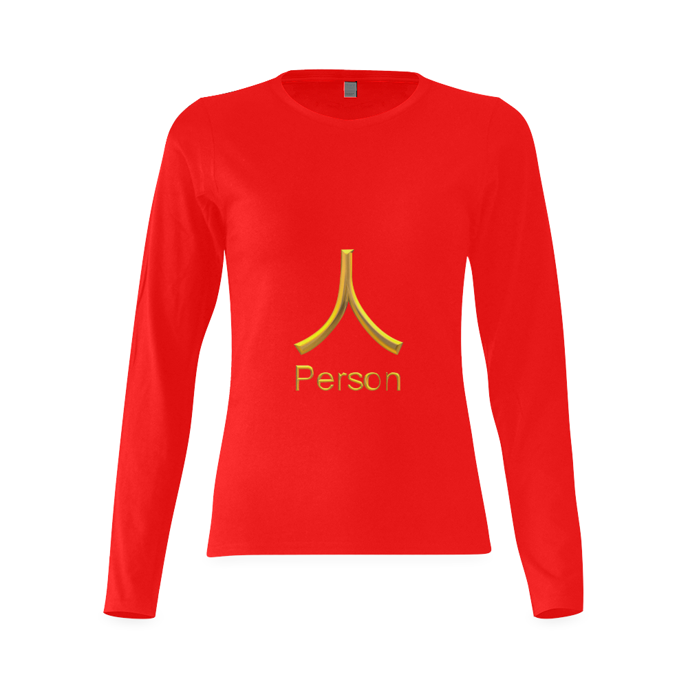 s-Golden Asian Symbol for Person Sunny Women's T-shirt (long-sleeve) (Model T07)