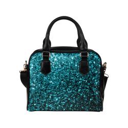Beautiful Aqua blue glitter sparkles Shoulder Handbag (Model 1634)