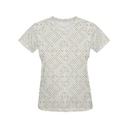 White 3D Geometric Pattern All Over Print T-Shirt for Women (USA Size) (Model T40)
