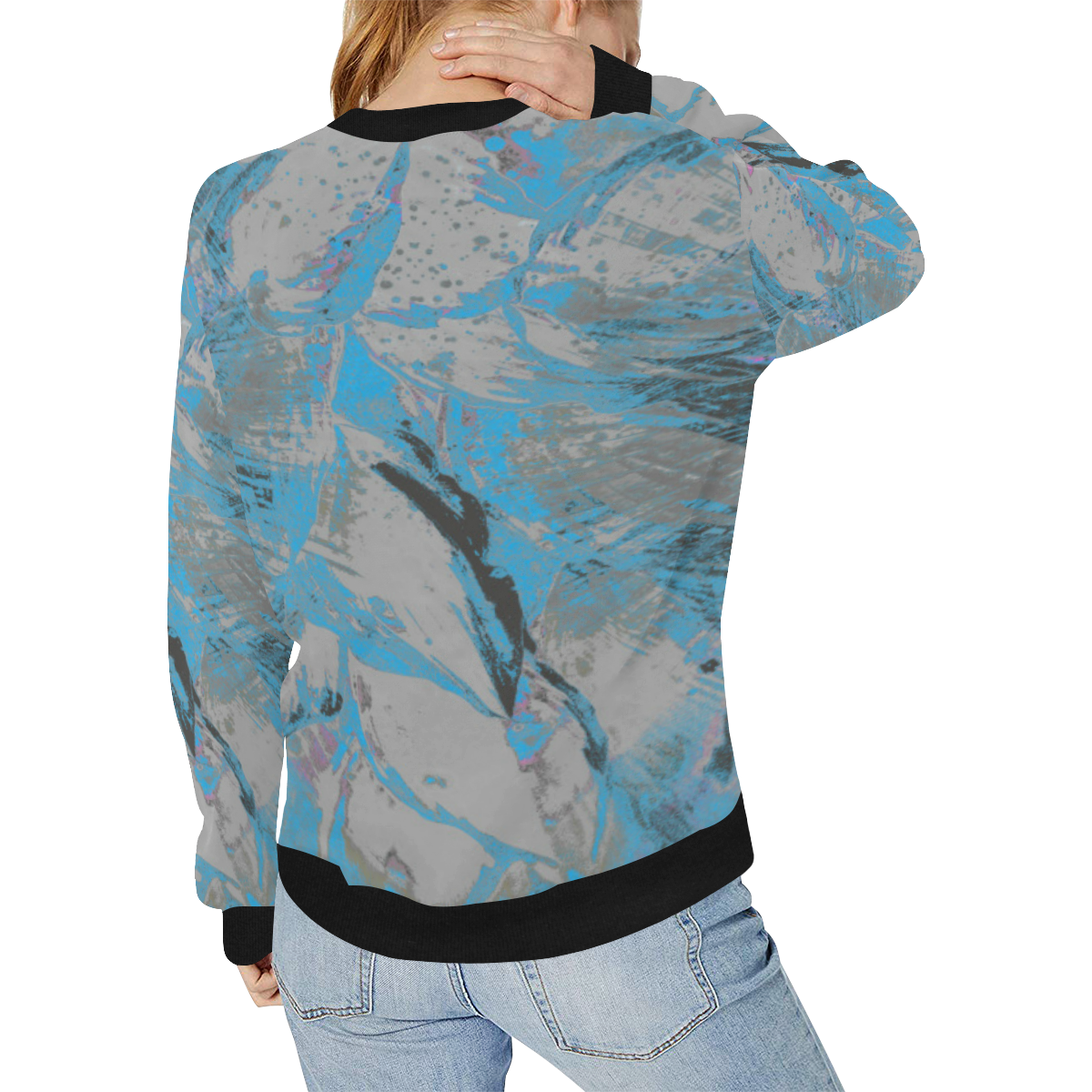 wheelVibe_8500 7 DIRTY BLUE low Women's Rib Cuff Crew Neck Sweatshirt (Model H34)