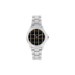 Black Tartan watch - Silver Unisex Stainless Steel Watch(Model 103)