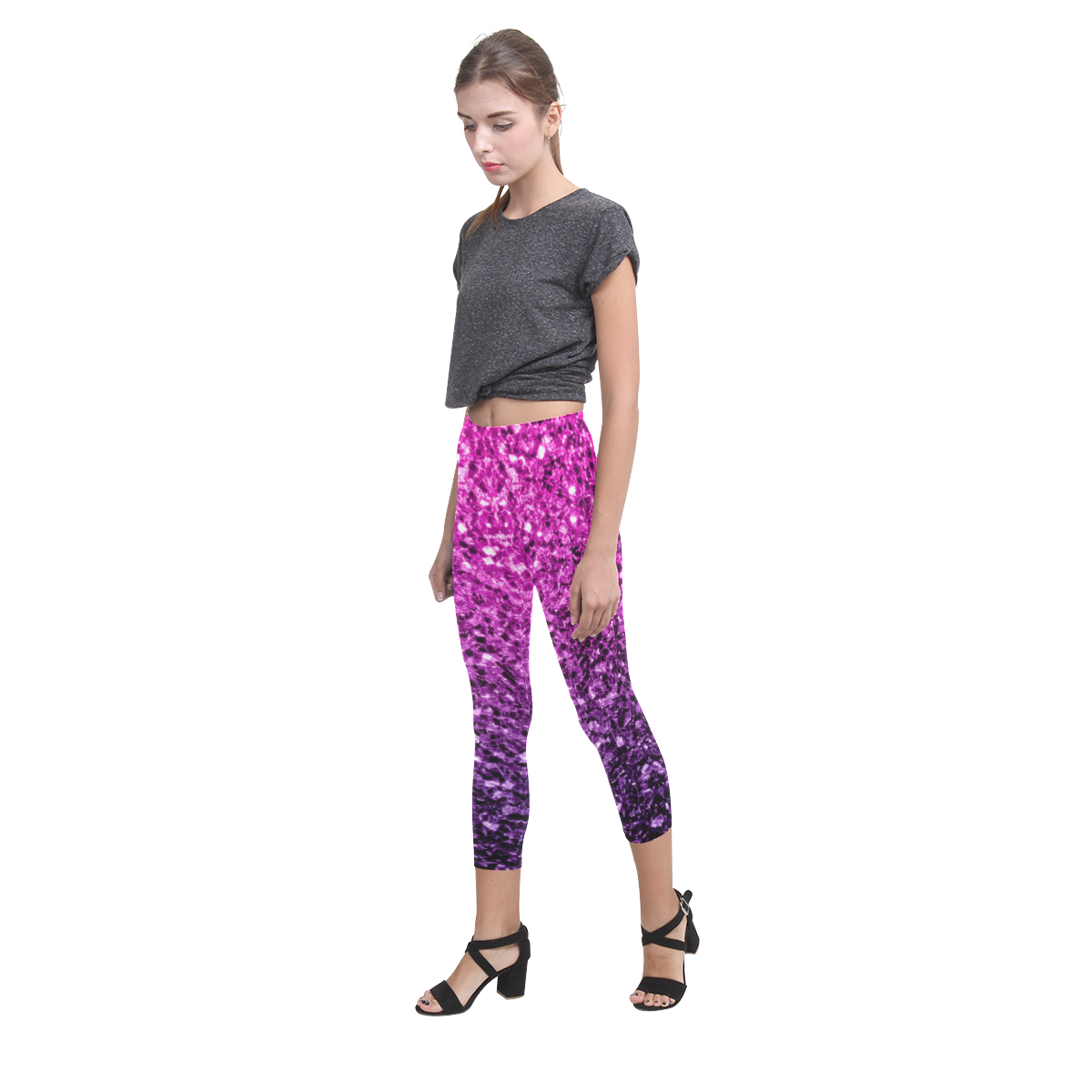 Beautiful Purple Pink Ombre glitter sparkles Capri Legging (Model L02)