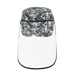 Urban City Black/Gray Digital Camouflage Military Style Cap (Detachable Face Shield)