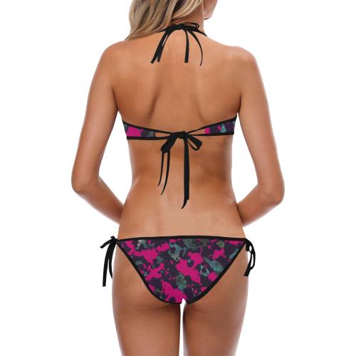 CAMOUFLAGE BLACKBERRY Custom Halter & Side Tie Bikini Swimsuit (Model S06)