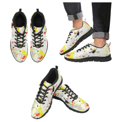 Yellow & Black Paint Splatter - Black Men's Breathable Running Shoes (Model 055)