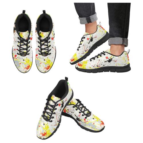 Yellow & Black Paint Splatter - Black Men's Breathable Running Shoes (Model 055)
