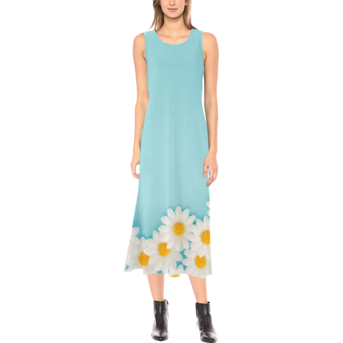 Daisy Border, Pastel Dress Phaedra Sleeveless Open Fork Long Dress (Model D08)
