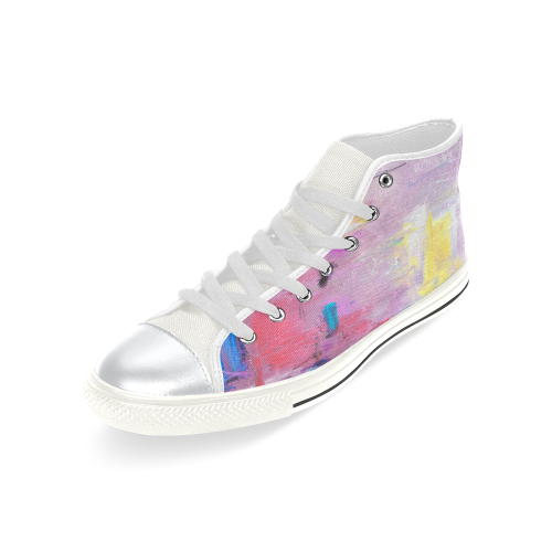 Little purple High Top Canvas Shoes for Kid (Model 017)