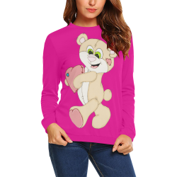 Patchwork Heart Teddy Pink All Over Print Crewneck Sweatshirt for Women (Model H18)