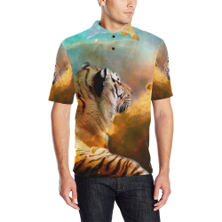 Tiger and Nebula Men's All Over Print Polo Shirt (Model T55)