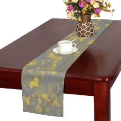 Gray and Yellow Paint Splash 8703 Table Runner 14x72 inch