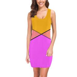 Tangerine Orange and Pink Medea Vest Dress (Model D06)