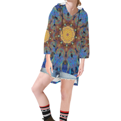 Energy mandala Step Hem Tunic Hoodie for Women (Model H25)