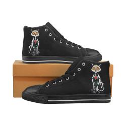 Sugar Skull Cat Black Women's Classic High Top Canvas Shoes (Model 017)