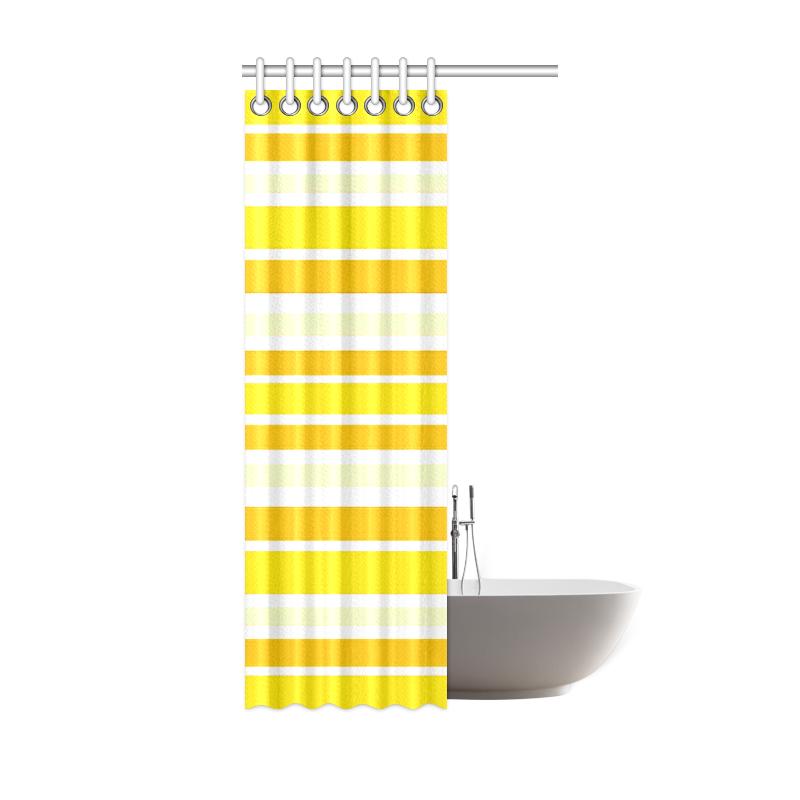 "Sunshine Yellow Stripes Shower Curtain 36""x72"""