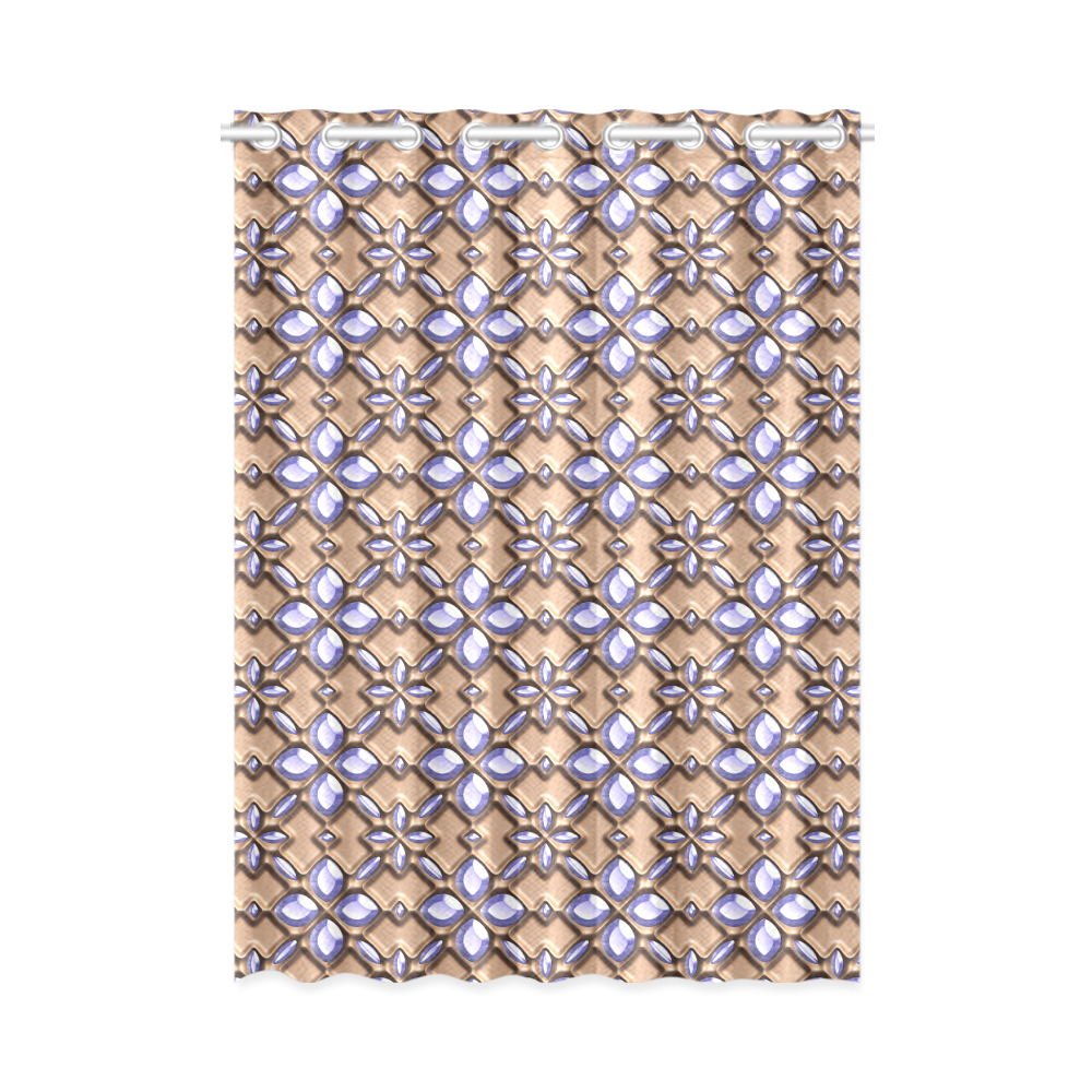 """Blue glass pattern in brown background. New Window Curtain 52"""" x 72""""(One Piece)"""