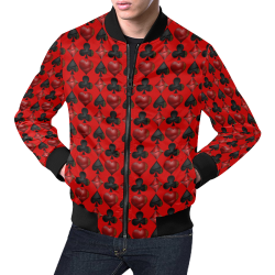 Las Vegas Black and Red Casino Poker Card Shapes on Red All Over Print Bomber Jacket for Men (Model H19)