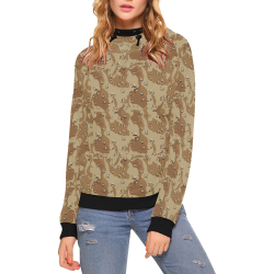 Vintage Desert Brown Camouflage High Neck Pullover Hoodie for Women (Model H24)