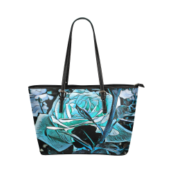 rose passion of blues Leather Tote Bag/Large (Model 1651)