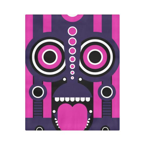 "Pink Purple Tiki Tribal Duvet Cover 86""x70"" ( All-over-print)"