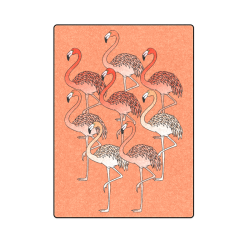 """Living Coral Color Flamingos Blanket 58""""x80"""""""