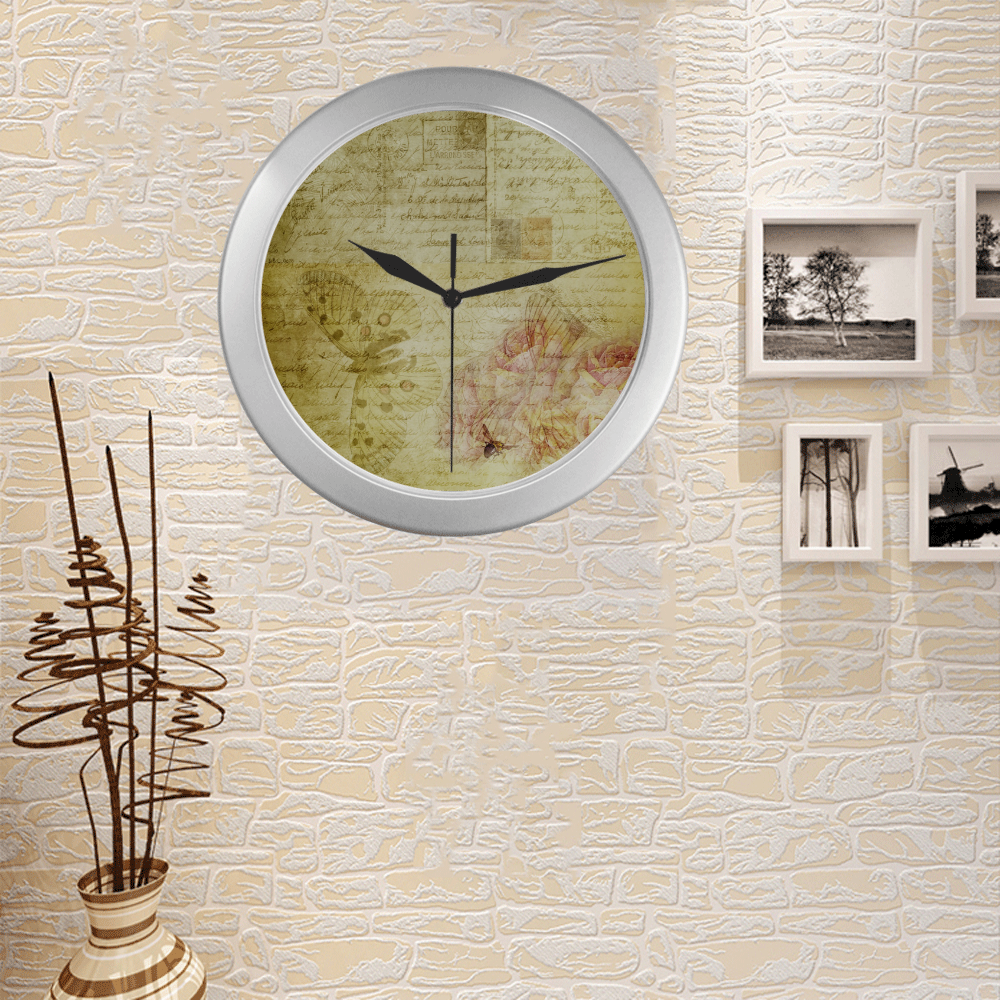 Silver Frame Wall Clock Classic Graphic Butterfly Style Modern Art Wall Clock Silver Color Wall Clock