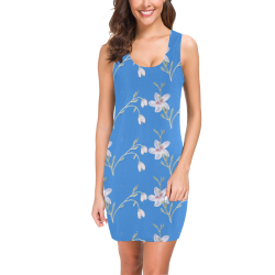 Light Blue Flower Pattern Vest Dress Medea Vest Dress (Model D06)