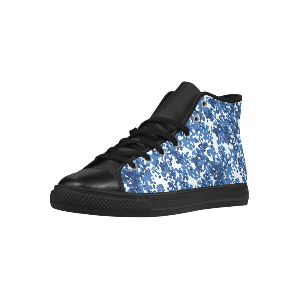 Digital Blue Camouflage Aquila High Top Microfiber Leather Men's Shoes (Model 027)