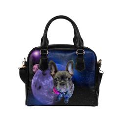 Dog French Bulldog and Galaxy Shoulder Handbag (Model 1634)
