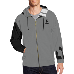 B Monogram Contrast Sleeve Striped Pack (Black/White/Gray) All Over Print Full Zip Hoodie for Men (Model H14)