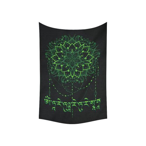 "Mandala with Green Tara Mantra Cotton Linen Wall Tapestry 60""x 40"""