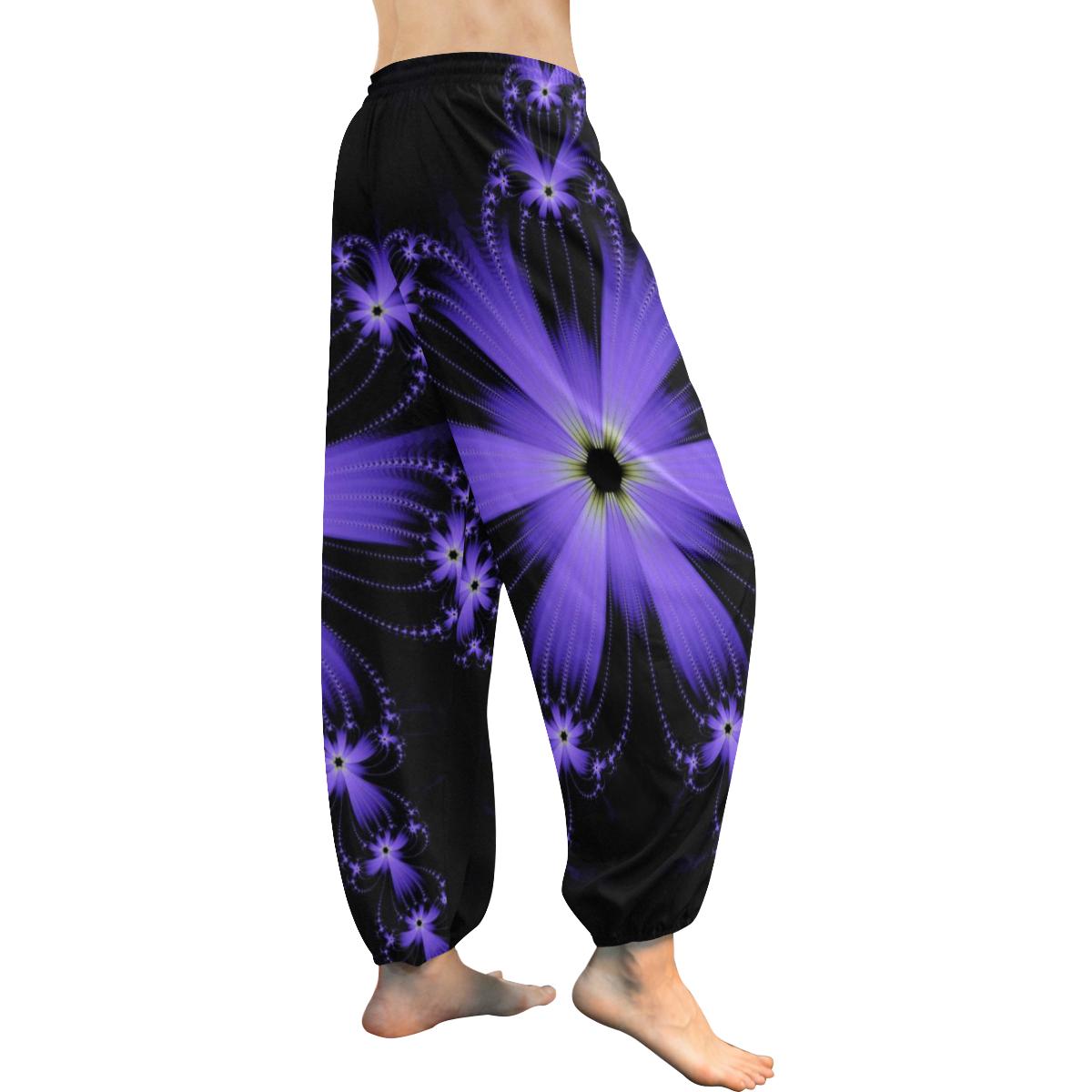 Purple Flower Burst Women's All Over Print Harem Pants (Model L18)
