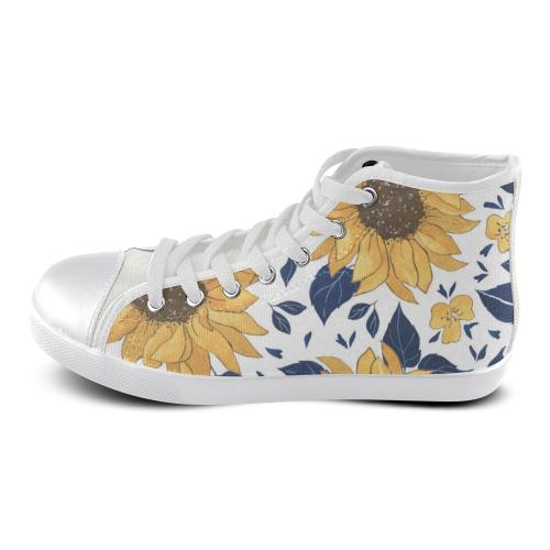 Sunflower LG Women's High Top Canvas Shoes High Top Canvas Women's Shoes/Large Size (Model 002)