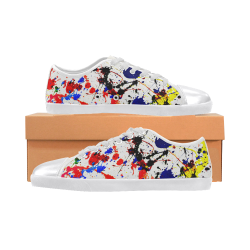Blue & Red Paint Splatter - White Canvas Shoes for Women/Large Size (Model 016)