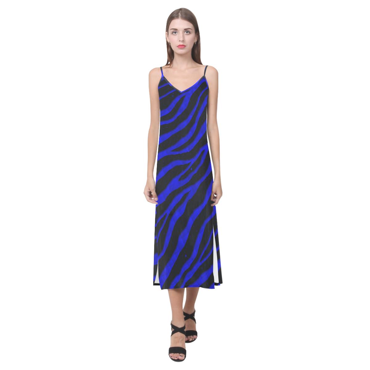 Ripped SpaceTime Stripes - Blue V-Neck Open Fork Long Dress(Model D18)