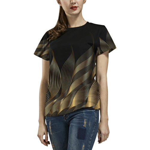 goldwaves All Over Print T-Shirt for Women (USA Size) (Model T40)