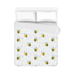 "Cute Bee Pattern Duvet Cover 86""x70"" ( All-over-print)"