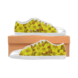 Yellow flower pattern Canvas Shoes for Women/Large Size (Model 016)
